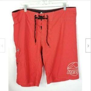 Reef Swim Trunks Board Shorts 38 Red Drawstring